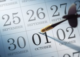 October 01 written on a calendar to remind you an important appointment.